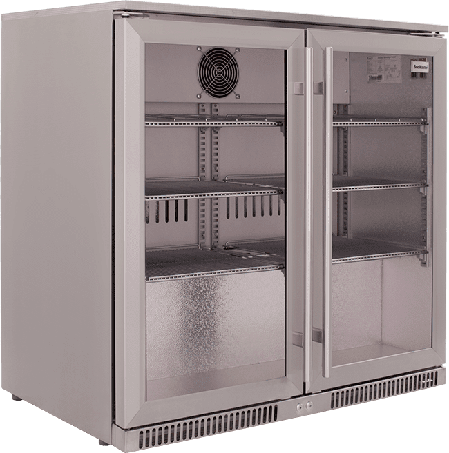 SnoMaster 200L Double Door Undercounter Beverage Cooler Stainless Steel SD-220SS Side Left Close Up