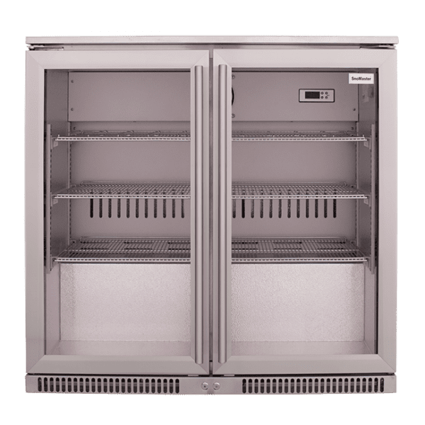 SnoMaster 200L Double Door Undercounter Beverage Cooler Stainless Steel SD-220SS Front