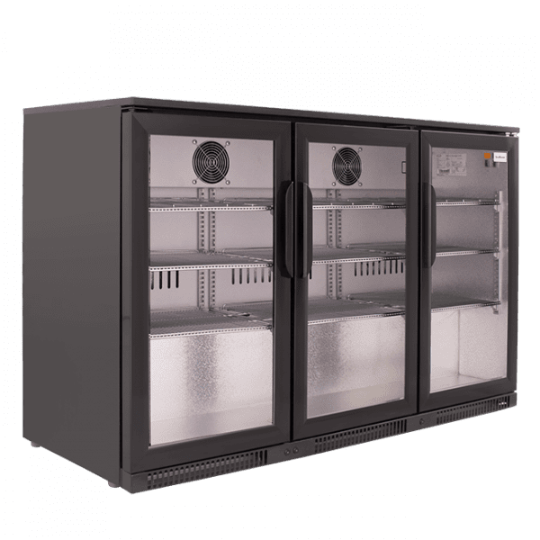 SnoMaster 300L Triple Door Under Counter Beverage Cooler (SD-300) with Lock Side View