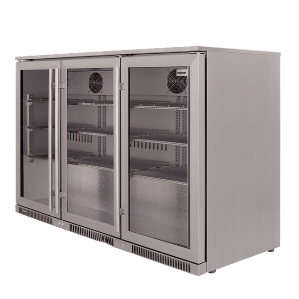 SnoMaster 300L Triple Door Under Counter Beverage Cooler (SD-300) Silver with Lock Right View