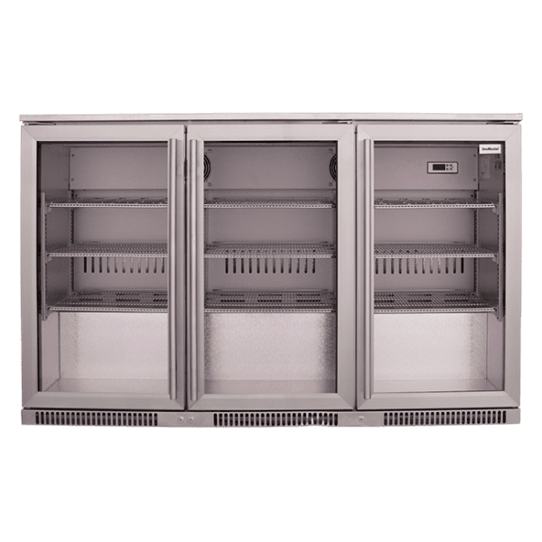 SnoMaster 300L Triple Door Under Counter Beverage Cooler (SD-300) Silver with Lock Front View