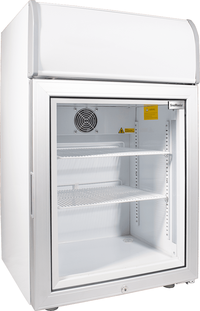 SnoMaster 70L Countertop Freezer with Glass Door and Lightbox (SMCTB-100FF) Left View Close Up
