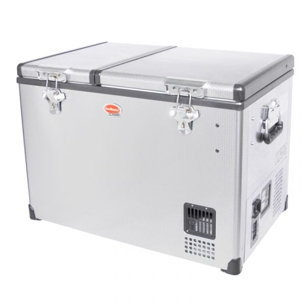 SnoMaster 56L Dual Compartment Portable Stainless Steel Camping Fridge/Freezer AC/DC (SMDZ-CL56D) Left Side Closed