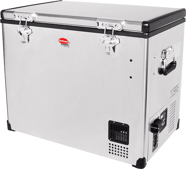 SnoMaster 80L Compressor Cooled Stainless Steel Camping Fridge/Freezer AC/DC SMDZCL80 Left View Close Up