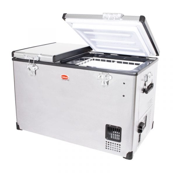 SnoMaster Compressor Cooled 66L Dual Compartment Portable Stainless Steel Camping Fridge/Freezer SMDZ-EX67D Left Side Open