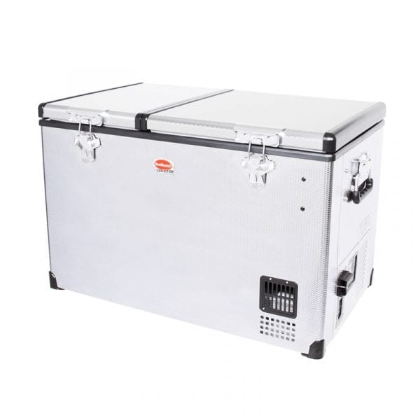 SnoMaster Compressor Cooled 66L Dual Compartment Portable Stainless Steel Camping Fridge/Freezer SMDZ-EX67D Left Side