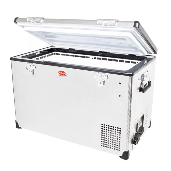 SnoMaster 75L Compressor Cooled Single Compartment Portable Stainless Steel Camping Fridge/Freezer (SMDZEX75) Left Side Open