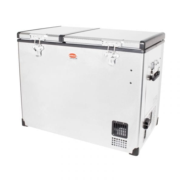 SnoMaster 85L Compressor Cooled Dual Compartment Stainless Steel Portable Camping Fridge/Freezer (SMDZ-EX85D) Left Side