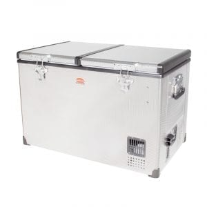 SnoMaster 81.5L Dual Compartment Stainless Steel Portable Camping Fridge/Freezer AC/DC (SMDZ-TR82D) Left Side Locked