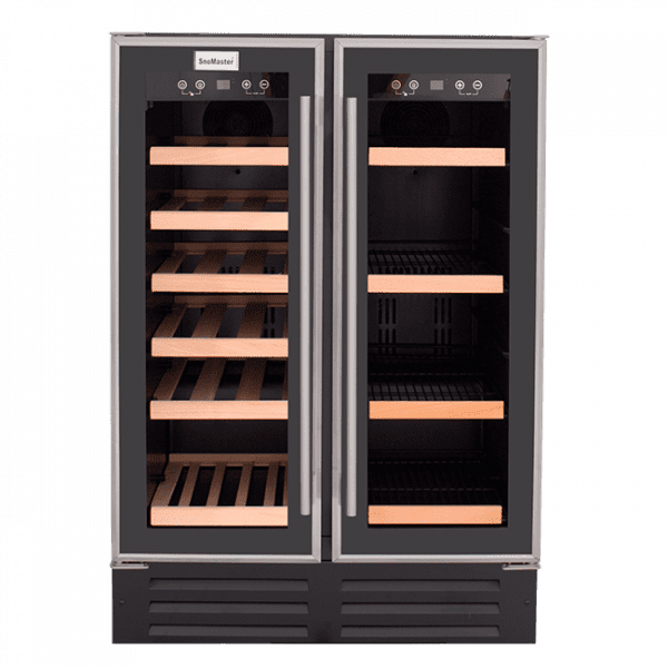 SnoMaster 116L Double Glass DoorBeverage/Wine Cooler with Digital Thermostat (VT-19D) Front View