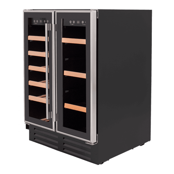 SnoMaster 116L Double Glass DoorBeverage/Wine Cooler with Digital Thermostat Left View
