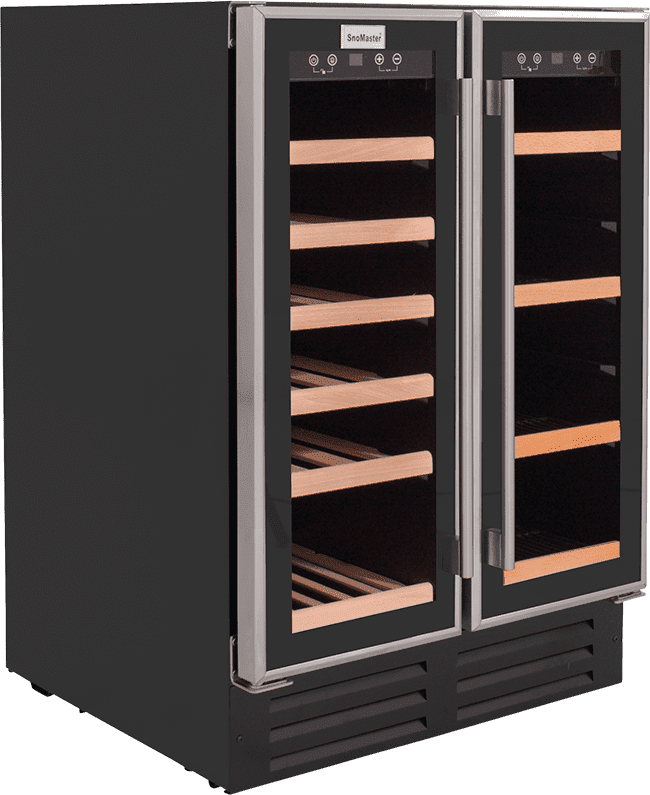 SnoMaster 116L Double Glass DoorBeverage/Wine Cooler with Digital Thermostat Right View Close Up
