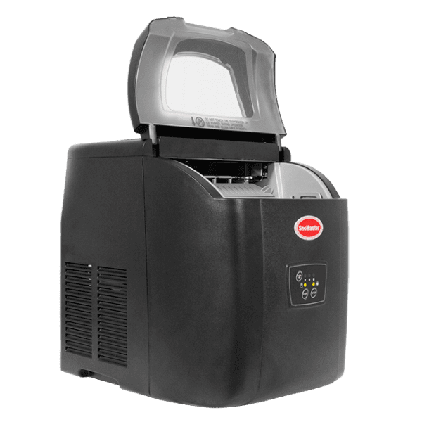 SnoMaster 12KG Portable Ice Maker (ZB-14) 10 Bullet Ice Cubes / Cycle Black Left View Open Lid