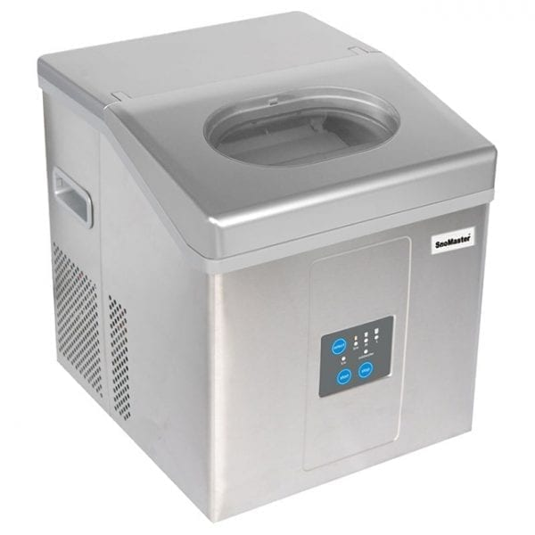 SnoMaster 15kg Stainless Steel Portable Ice Maker (ZBC-15D) 12 Ice Cubes / Cycle Angled View