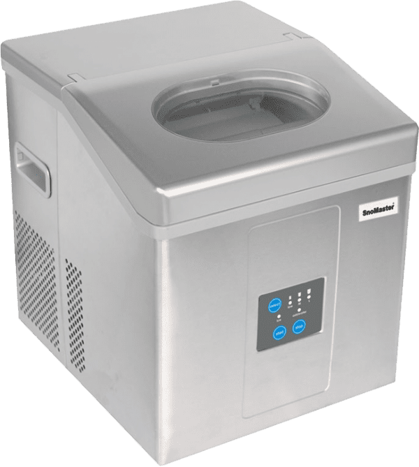 SnoMaster 15kg Stainless Steel Portable Ice Maker (ZBC-15D) 12 Ice Cubes / Cycle Angled View Promo