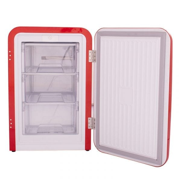 SnoMaster 72L Compressor Cooled Undercounter Retro Red Freezer Cooler for Domestic and Commercial Use (DBQ-220E)