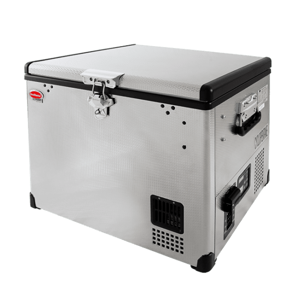 SnoMaster 40L Portable Stainless Steel Single Compartment AC/DC Camping Fridge / Freezer (SMDZ-CL40) Left View Closed Lid