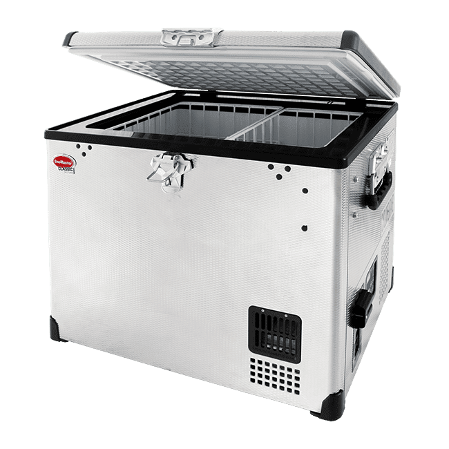 SnoMaster 40L Portable Stainless Steel Single Compartment AC/DC Camping Fridge / Freezer (SMDZ-CL40) Open Lid