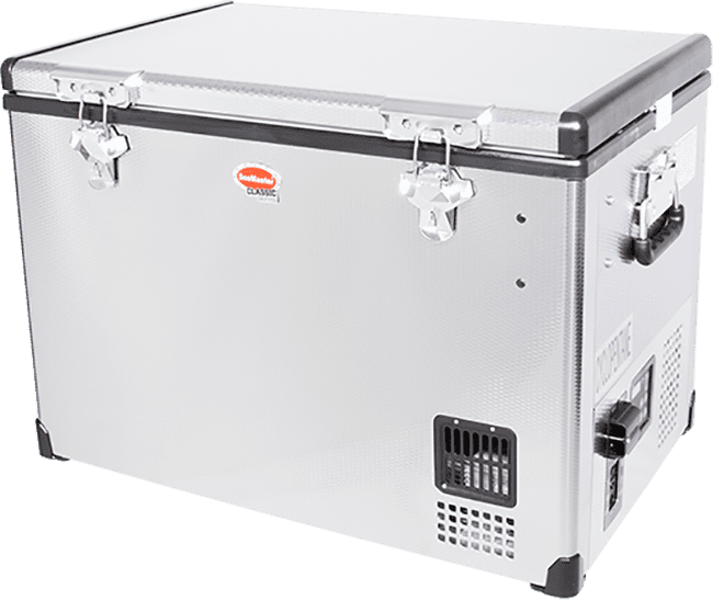 SnoMaster 40L Stainless Steel Camping Fridge/Freezer (SMDZ-CL40) Angled Left View Close Up
