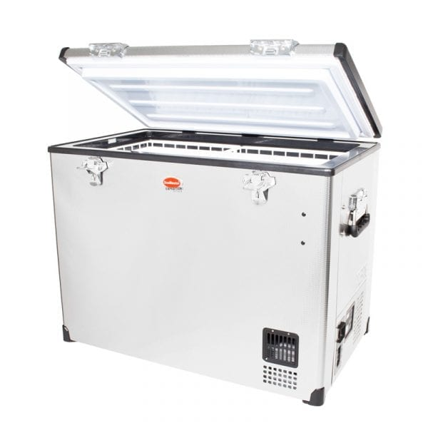 SnoMaster 95L Single Compartment Portable Stainless Steel Camping Fridge/Freezer AC/DC (SMDZ-EX95) Open