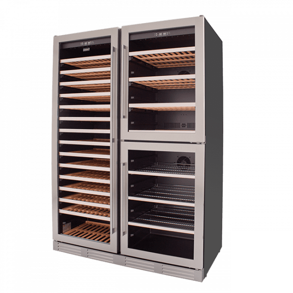 SnoMaster Triple Door Dual Zone Wine Cooler (SMCTB-200) with Low Vibration Front View