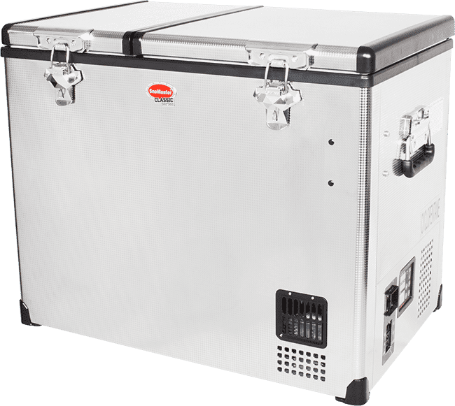 SnoMaster 72L Dual Compartment Stainless Steel Camping Fridge/Freezer AC/DC Angled Left View