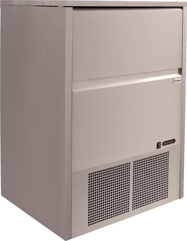 SnoMaster 80kg Plumbed-In Undercounter Commercial Ice Maker SM-80 48 cubes / cycle side panel promo