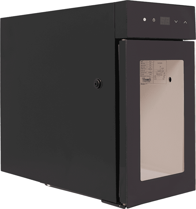SnoMaster 2L Tabletop Milk Cooler (BC-2) with Automated Temperature Monitoring Left View Close Up