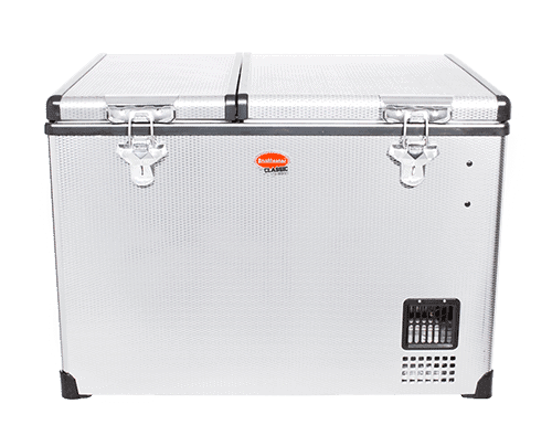SnoMaster 56L Dual Compartment Stainless Steel Camping Fridge Freezer with Digital Thermostat Front View