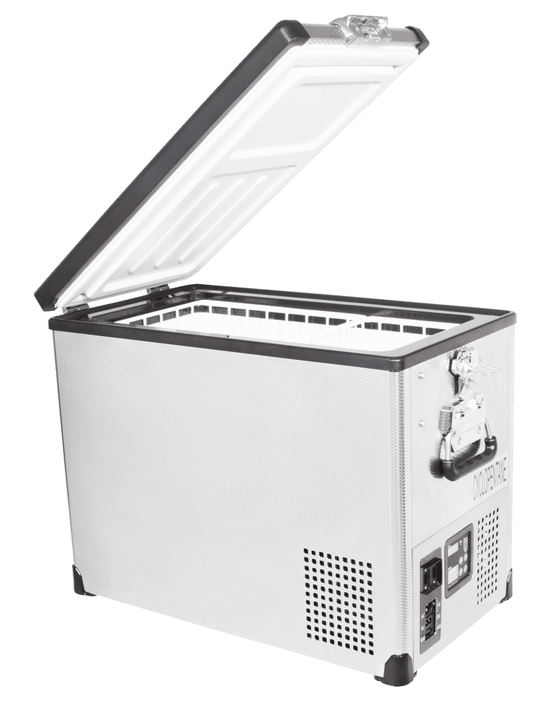 SnoMaster 42L Single Compartment Stainless Steel Camping Fridge/Freezer SMDZ-TR42SS Open