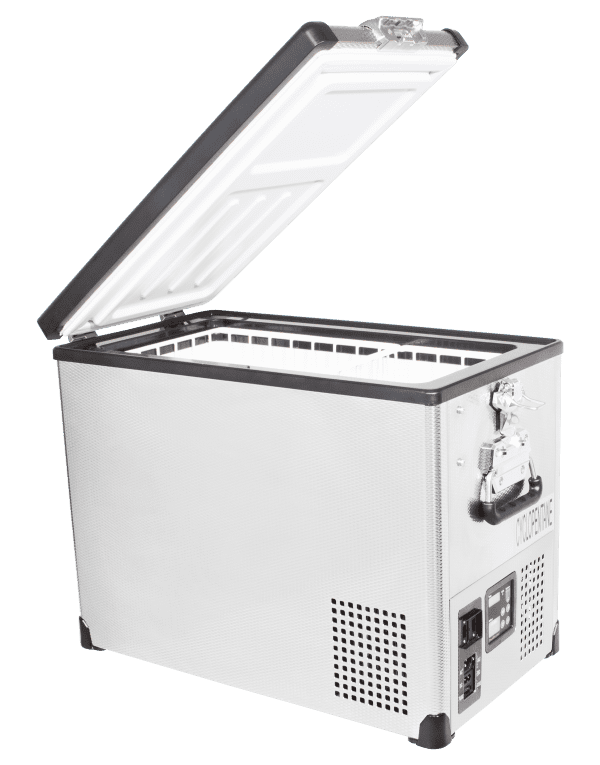 SnoMaster 42L Single Compartment Stainless Steel Camping Fridge/Freezer SMDZ-TR42SS Side Open