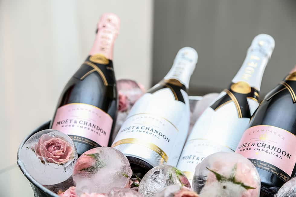 Pink Champagne on ice delights the eyes and then the taste buds. (1)