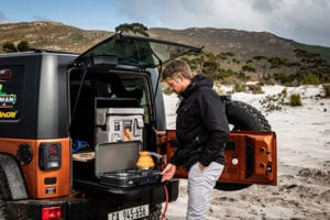 SnoMaster portable camping fridge freezers come with different accessories including secure transit bags and can fit right under tourneys