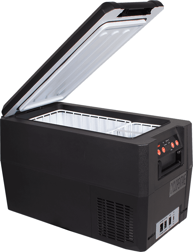 SnoMaster 35L Compressor Cooled Compact AC/ DC Fridge Freezer with Digital Thermostat and USB Ports (SMDZ-LS35) Open Lid