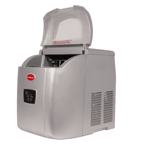 SnoMaster 12kg Small Portable Ice Maker (ZB-14G) with 10 Bullet Ice Cube Per Cycle Capacity Side View Open Lid