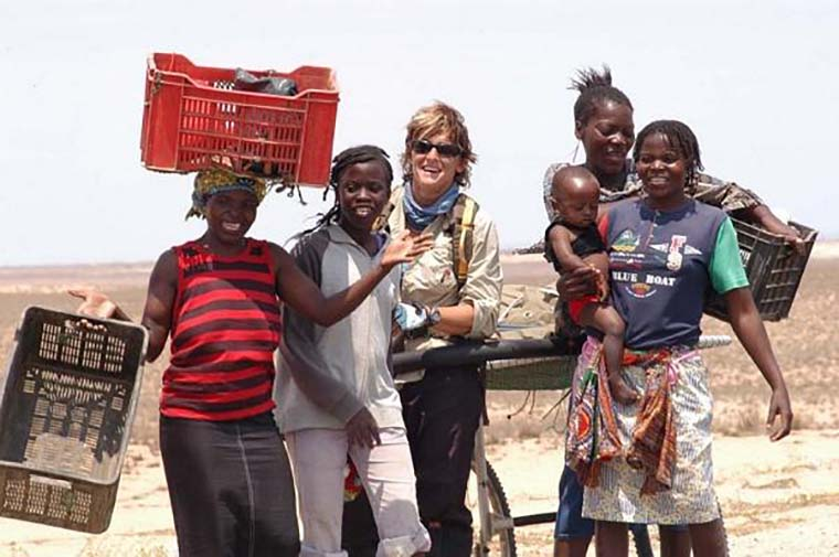 Anette interacting with local communities during her poineering Death Acre walk in Angola