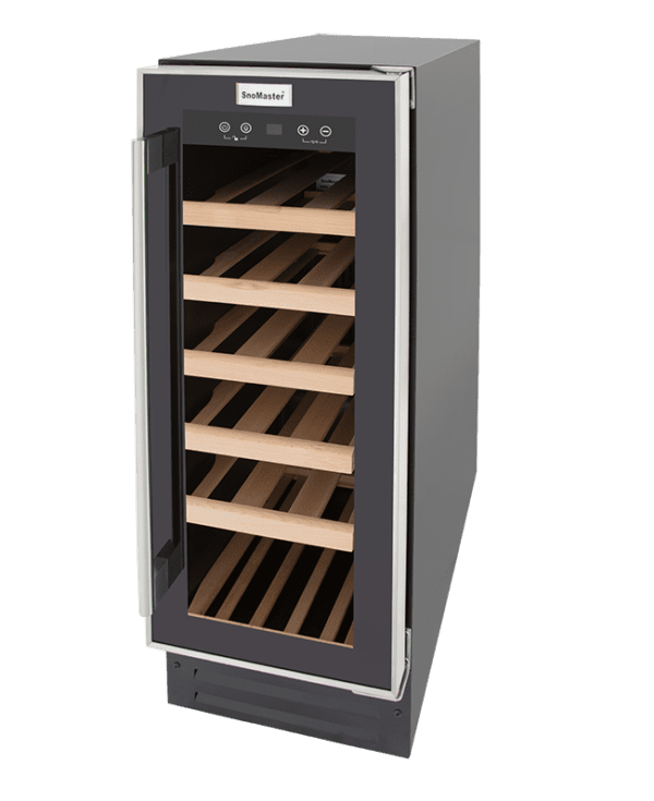 SnoMaster 18 Bottle (58L) Compressor Cooled Single Zone Undercounter Wine Cooler (VT-19M) with Digital Touch Control Angled Left