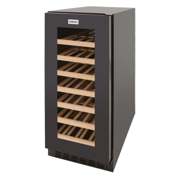 SnoMaster Compressor Cooled Stainless Steel 32 Bottle (103L) Commercial and Domestic Single Zone Wine Cooler (VT-32W) Angled Left