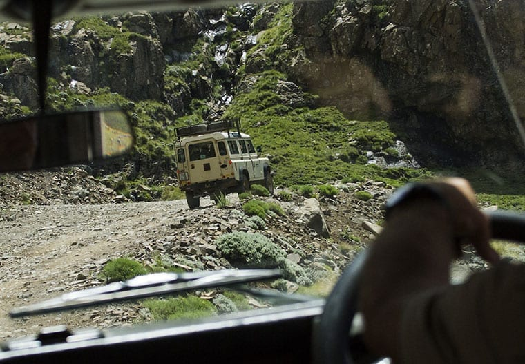 Slow and steady up the steep gravel roads of Sani Pass.