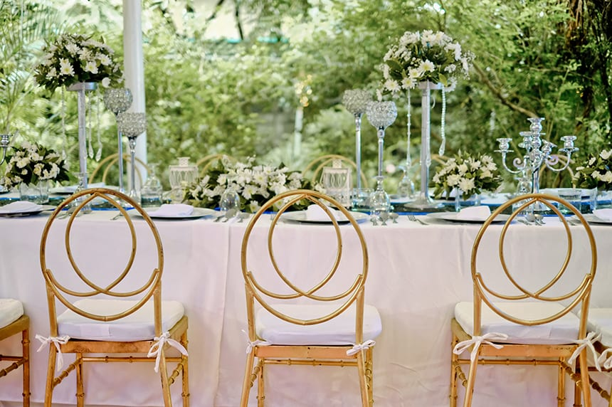 Everyone feels included when seated at a large estate table.