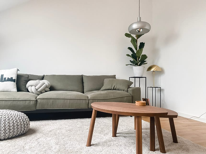 Natural elements adding warmth to a Scandinavian style lounge.