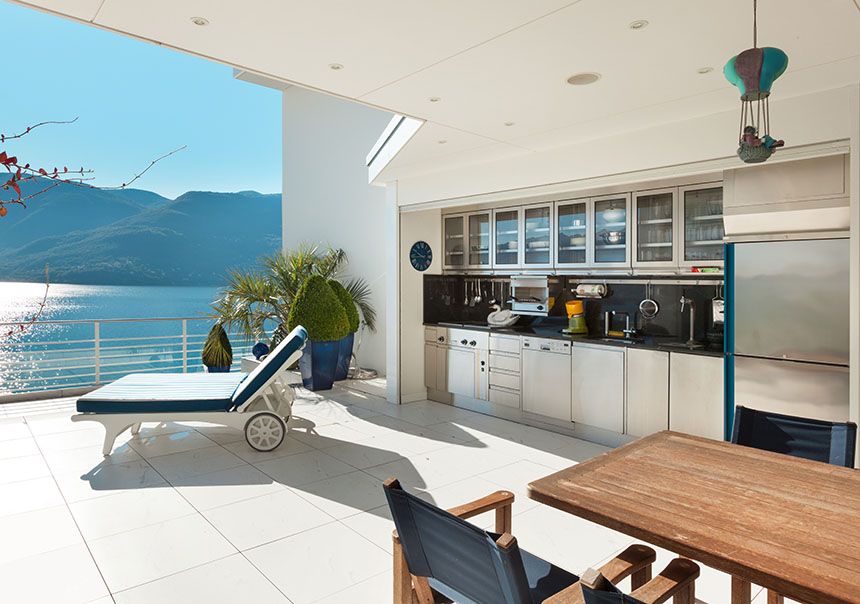 beautiful outdoor kitchen terrace with a view