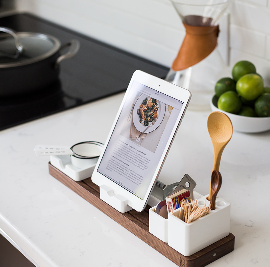 Technology has found its way into modern kitchens, so allocate a safe place for your gadgets and a nearby charging station.